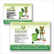 Sussex Greener Living Recycling Scheme poster - listing the waste materials you can recycle