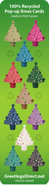100% recycled pop-up Christmas tree cards, made in West Sussex