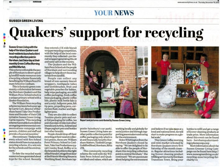 Quakers recycling