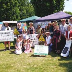 Grandparents, parents & children sharing 'The Future We Want' at Funday Sunday in Horsham