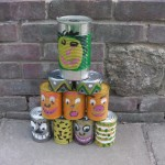 10 recycled steel cans