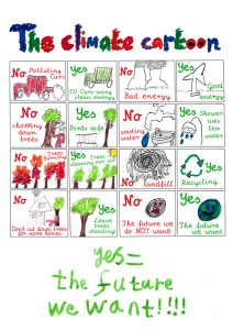Climate Cartoon by Adam Cort (9 years old), winner of WWF 'The Future We Want' KS2 competition
