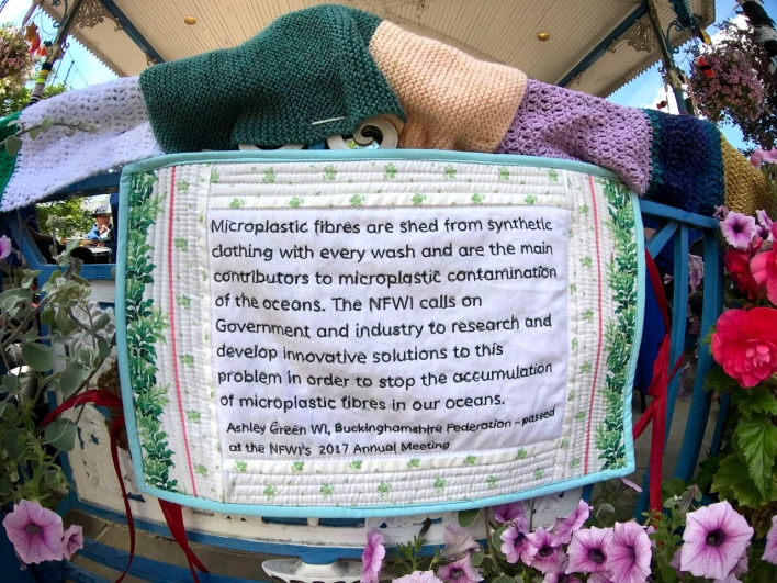 Microfibre pollution from synthetic clothes sign