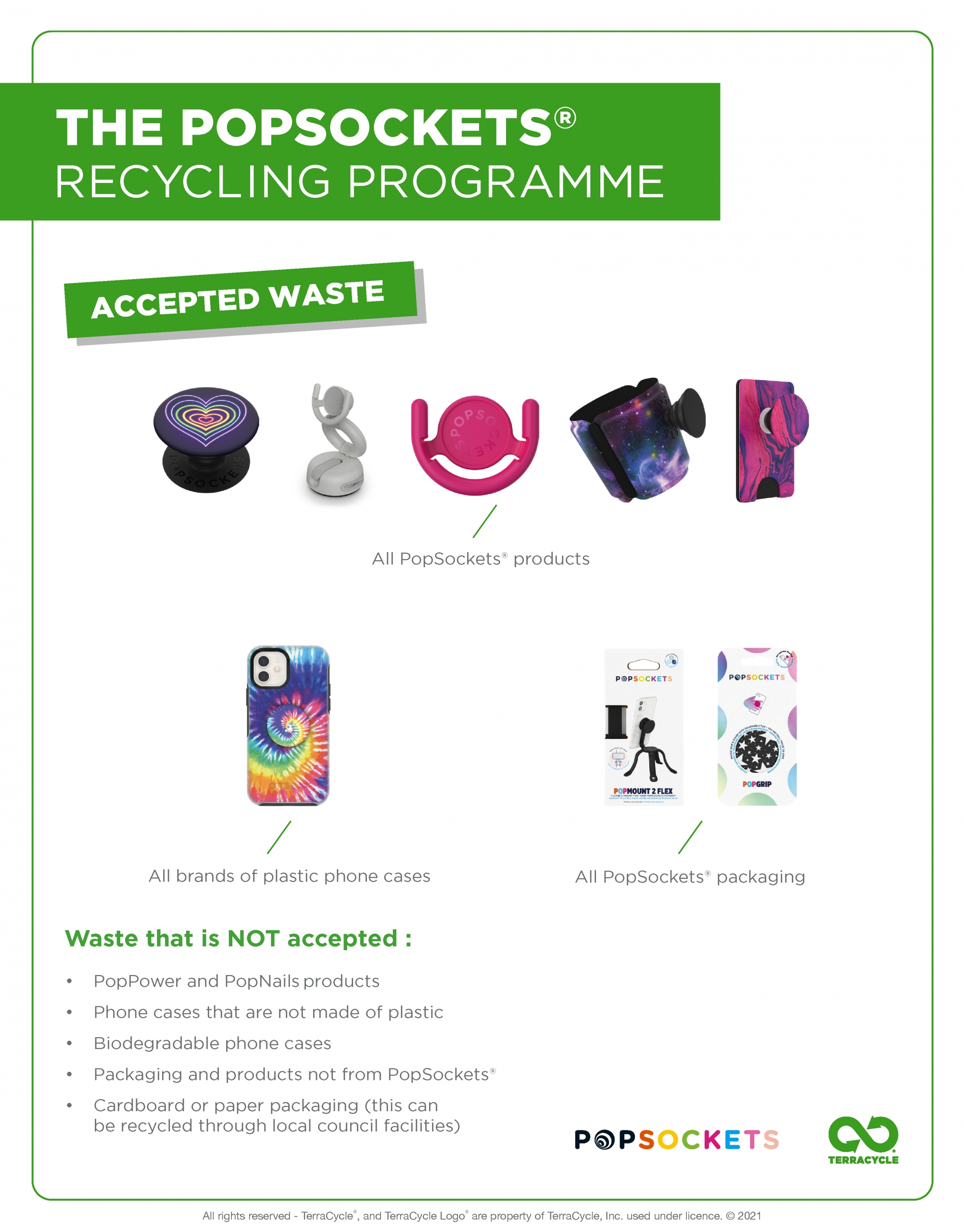 Pop sockets recycling scheme